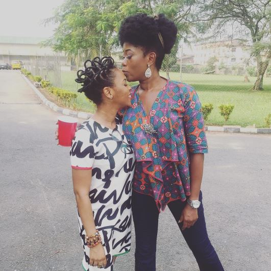 Chidinma Ekile celebrates with Labi Olayori