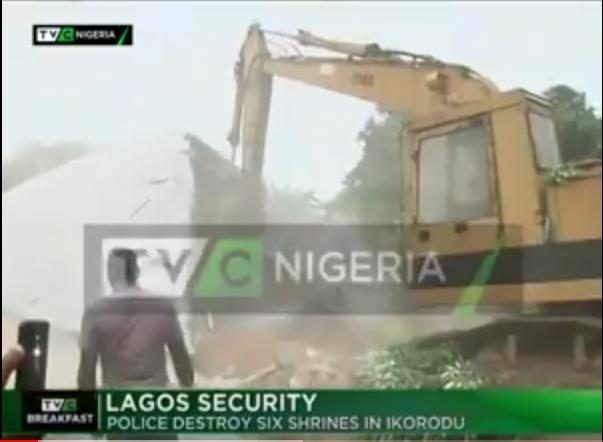 WATCH : Police destroy six 'Badoo' shrines in Ikorodu, uncover coffins