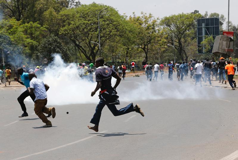 Kenyan police use tear gas, batons to disperse opposition protest