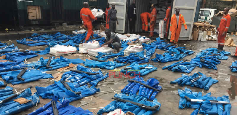 Customs seizes container loaded with 1,100 Pump Action Rifles
