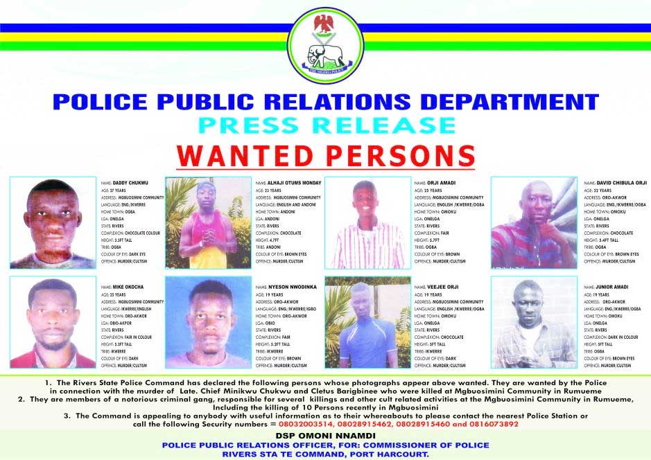 Rivers police declare eight persons wanted over Mgbuosimini killings