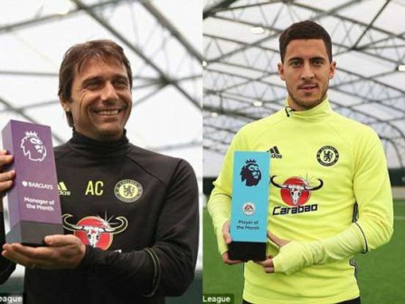 Conte, Hazard win premier league awards