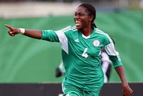 Oshoala presents jerseys to Rivers Angels