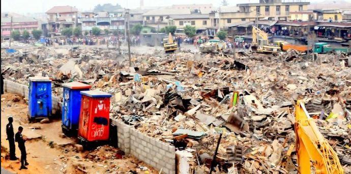 Lagos State Government demolished Oshodi Olorunsogo curtain market