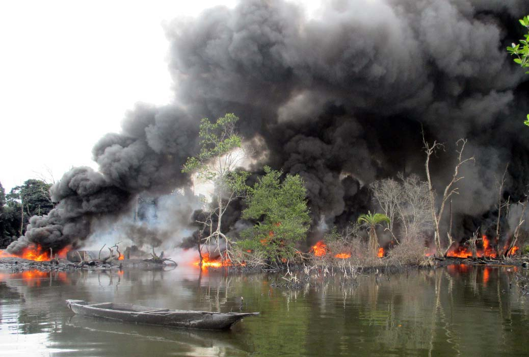 Navy destroys 40 illegal oil refineries in Rivers state