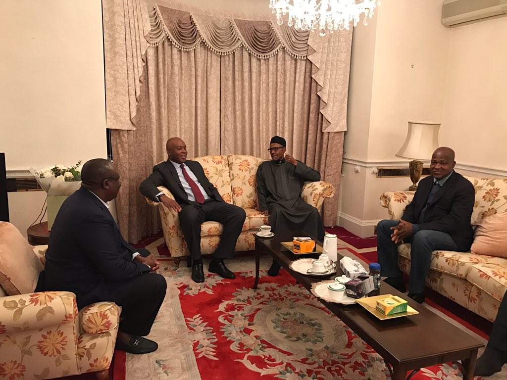 Saraki, Dogara meet Buhari in London