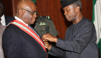 Osinbajo inaugurates Onnoghen as 17th CJN, gets GCON