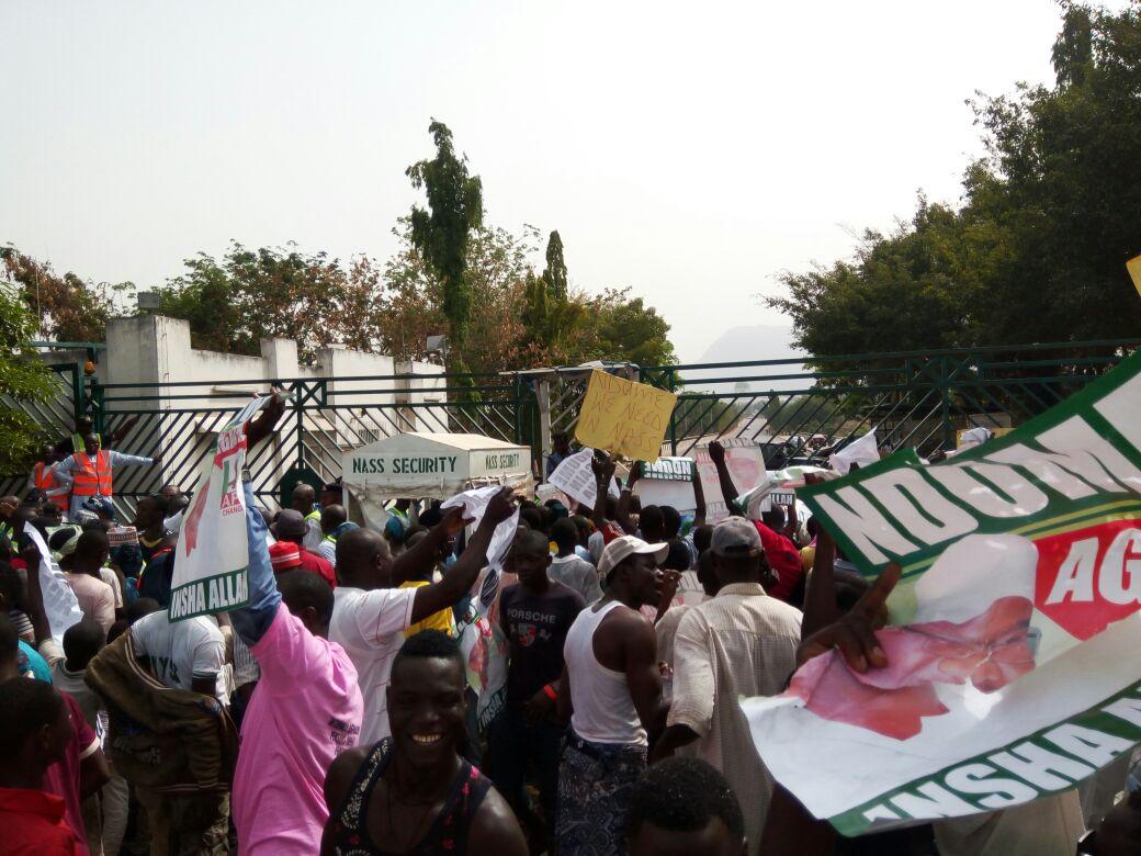 Ali Ndume's supporters storm NASS, demand Saraki's removal