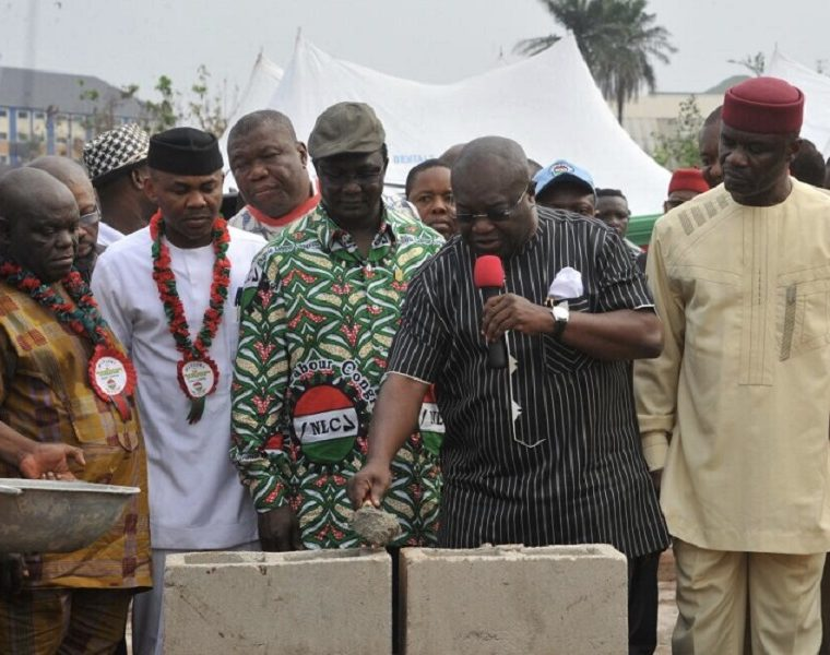 Governor Ikpeazu lays foundation block for Abia Labour House