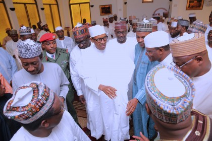 Buhari attends Friday prayers with AGF, NSA, others