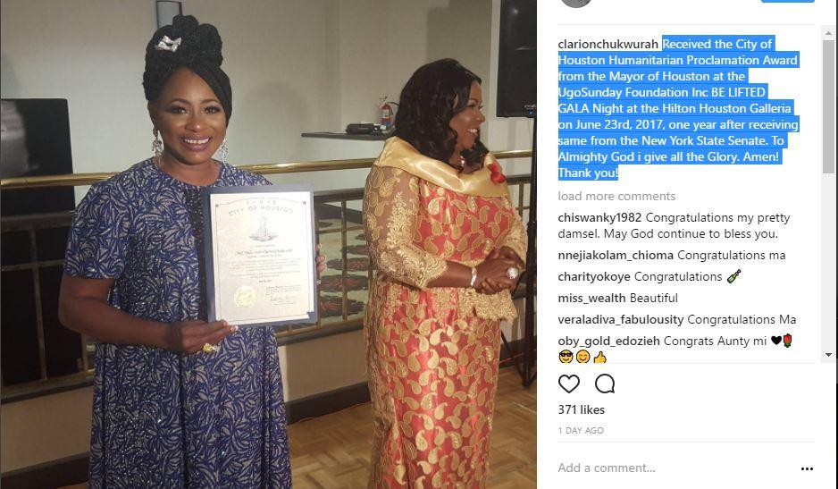 Clarion Chukwurah receives Houston's Humanitarian Proclamation Award