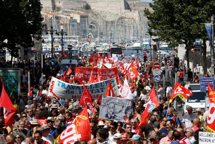 Trade unions protest on French Parliament's opening day
