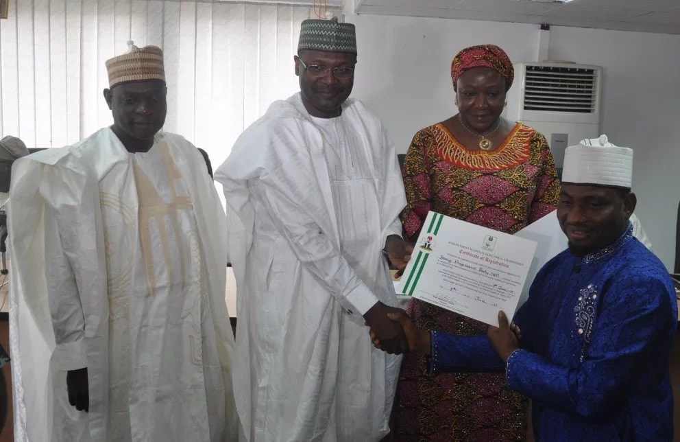 INEC presents certificates of registration to five new parties