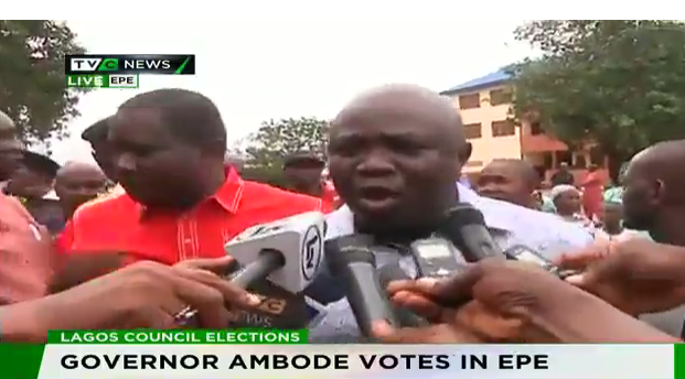#LagosCouncilElections: Ambode votes, says exercise is peaceful