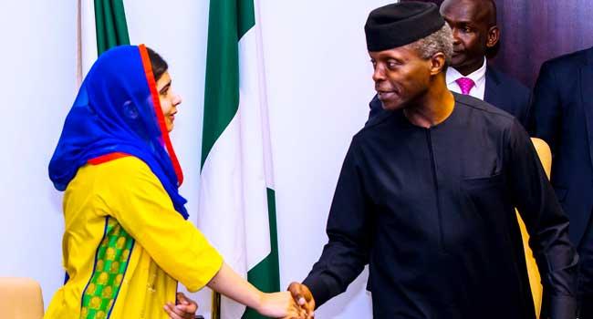 Malala visits Osinbajo, urges Nigeria to prioritise education system