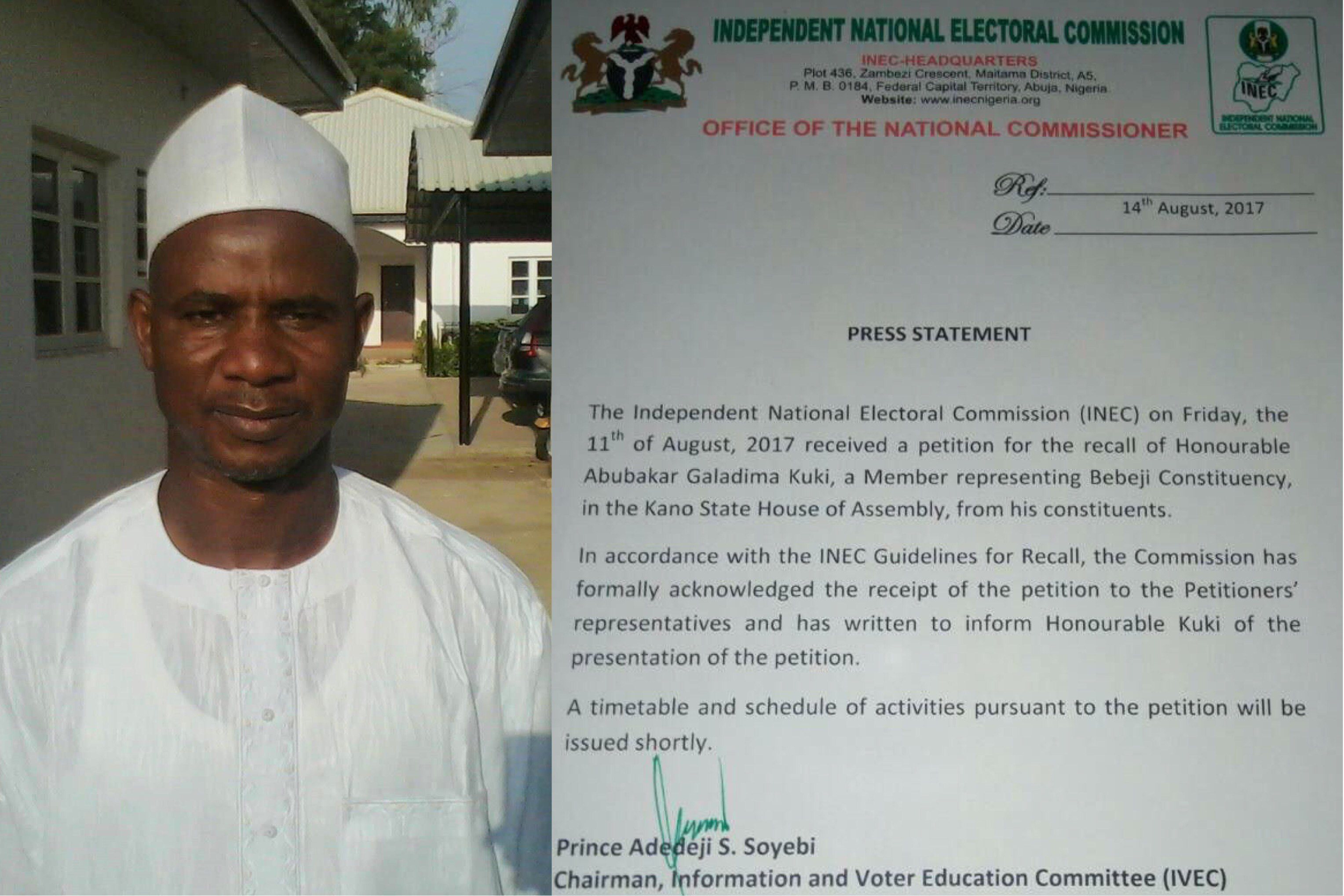 INEC receives petition for recall of Kano lawmaker