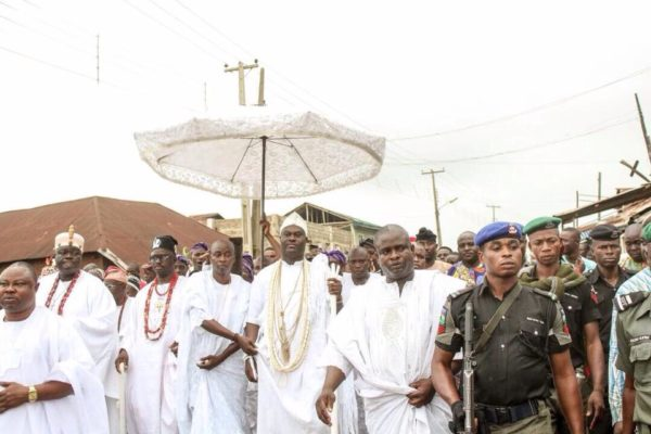 Alleged Crashed Marriage: Ooni of Ife celebrates Osun Festival without wife, Olori Wuraola