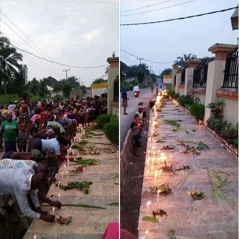 Anambra Church Attack: Villagers gather In front of the attacked church to pray