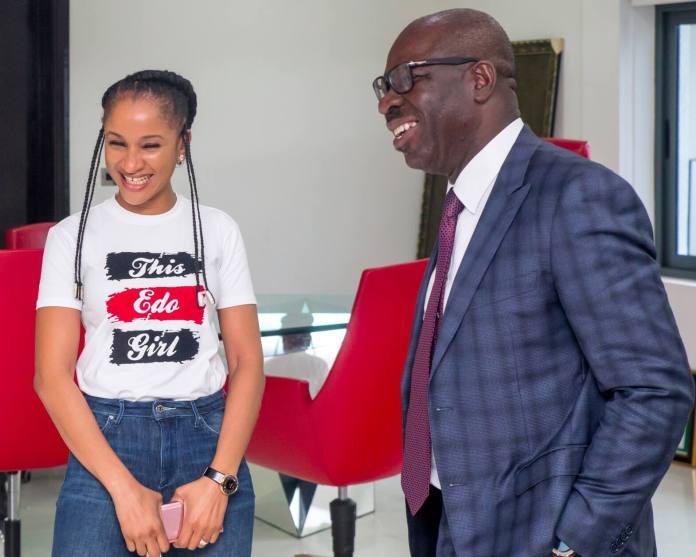 Nollywood Star Adesua Etomi visits Obaseki, lauds achievements