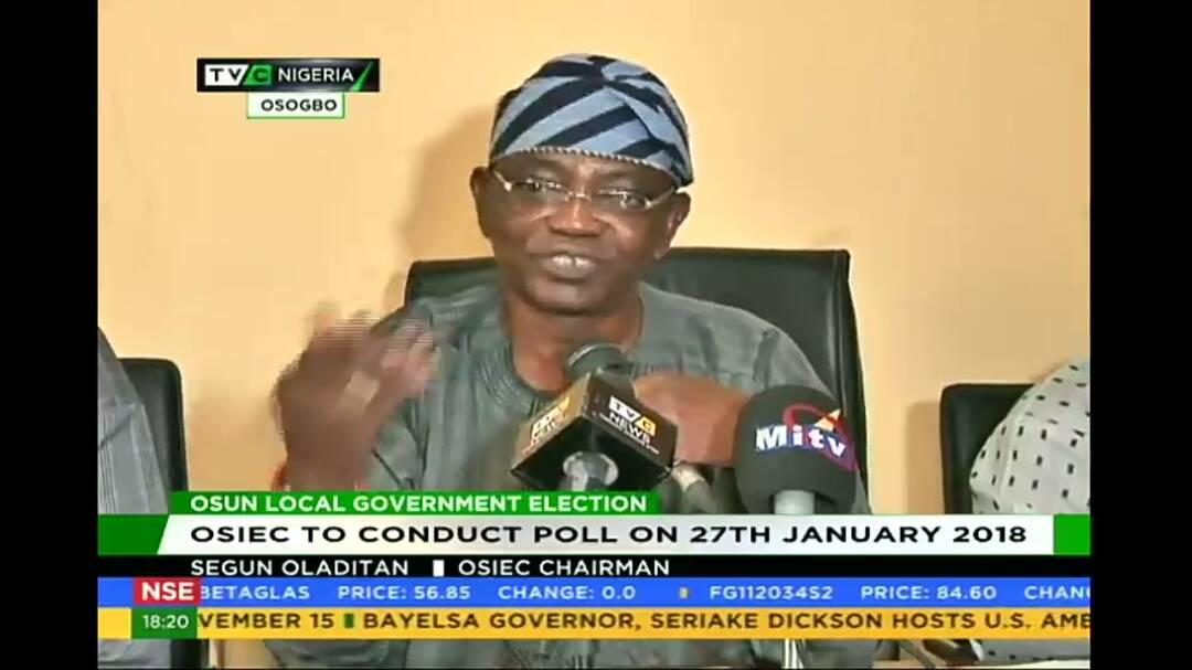 Osun Council Poll to hold January 27 – OSIEC