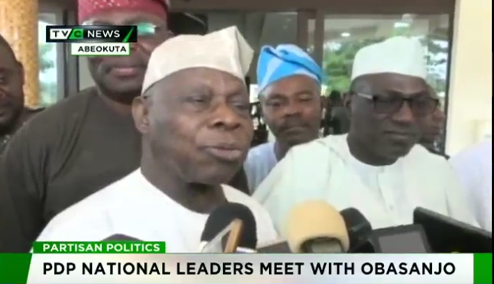 PDP National leaders meet with Obasanjo