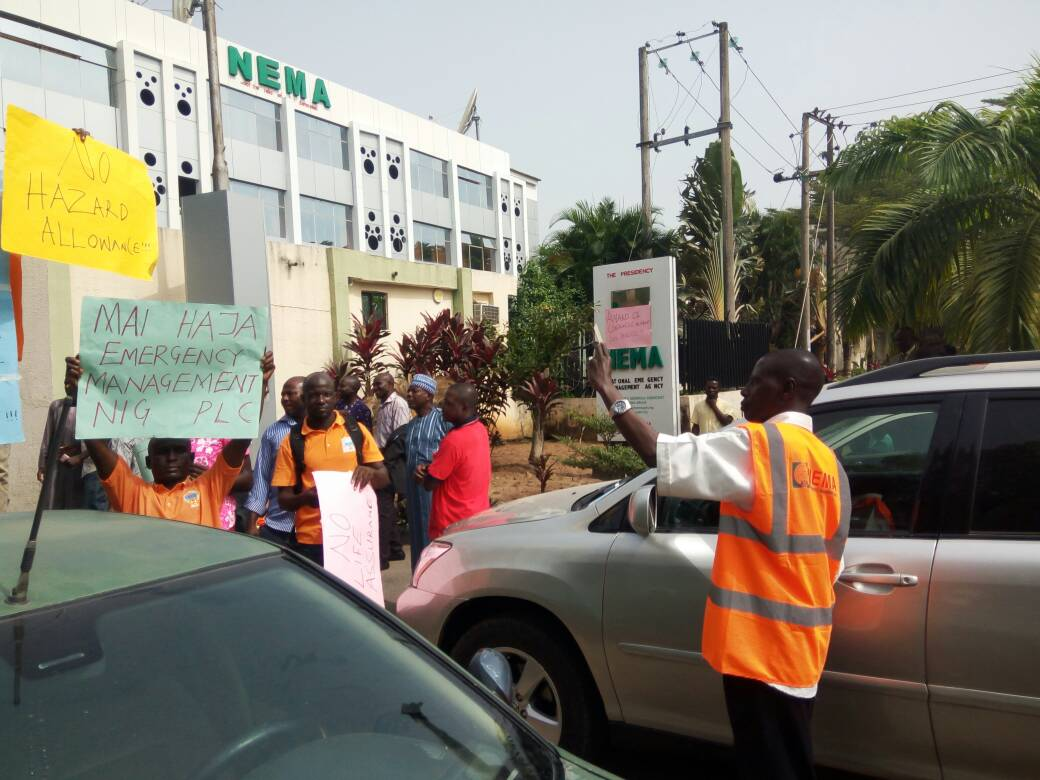 Protesting staff shutdown NEMA headquarters, demand D.G.'s removal