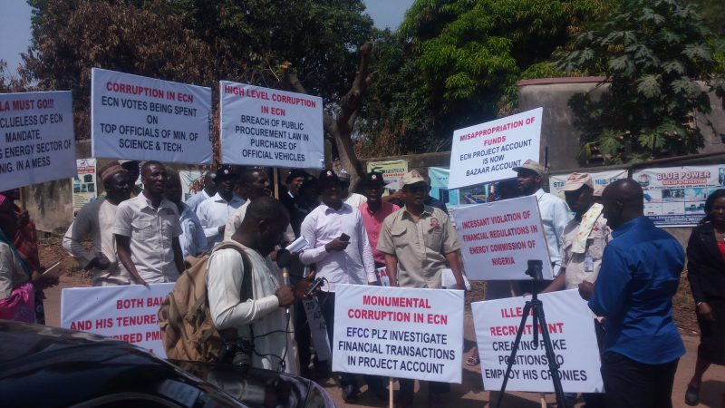 Angry workers shutdown Energy Commission office in Abuja