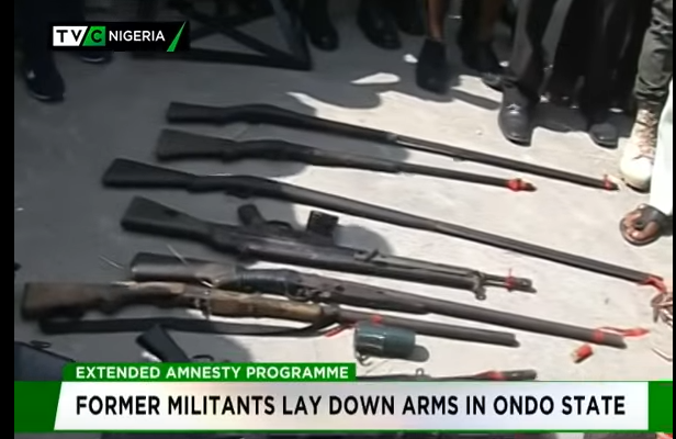 Former militants lay down arms in Ondo