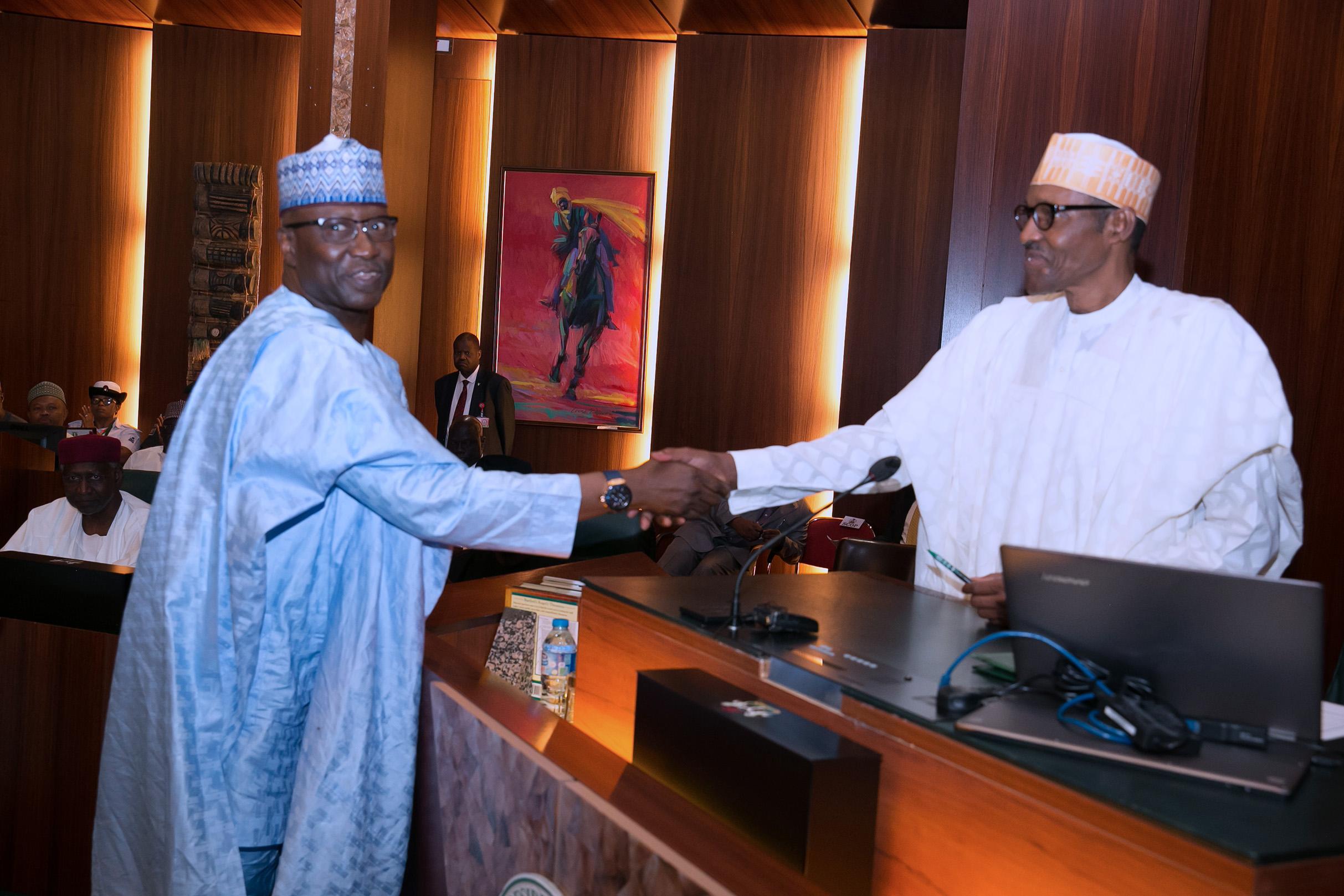 President Buhari swears-in Boss Mustapha as SGF