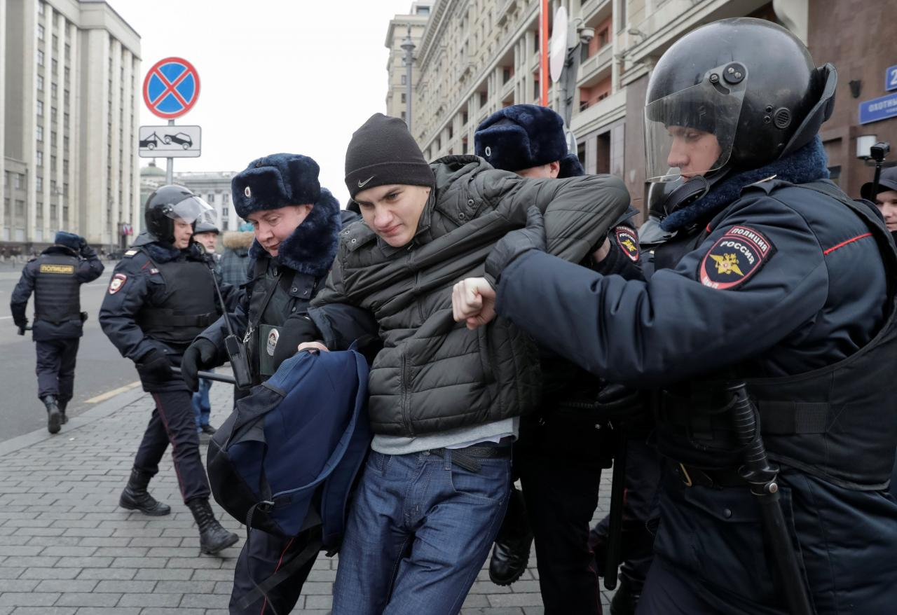 Police detain dozens in Moscow amid fear of anti-government attacks