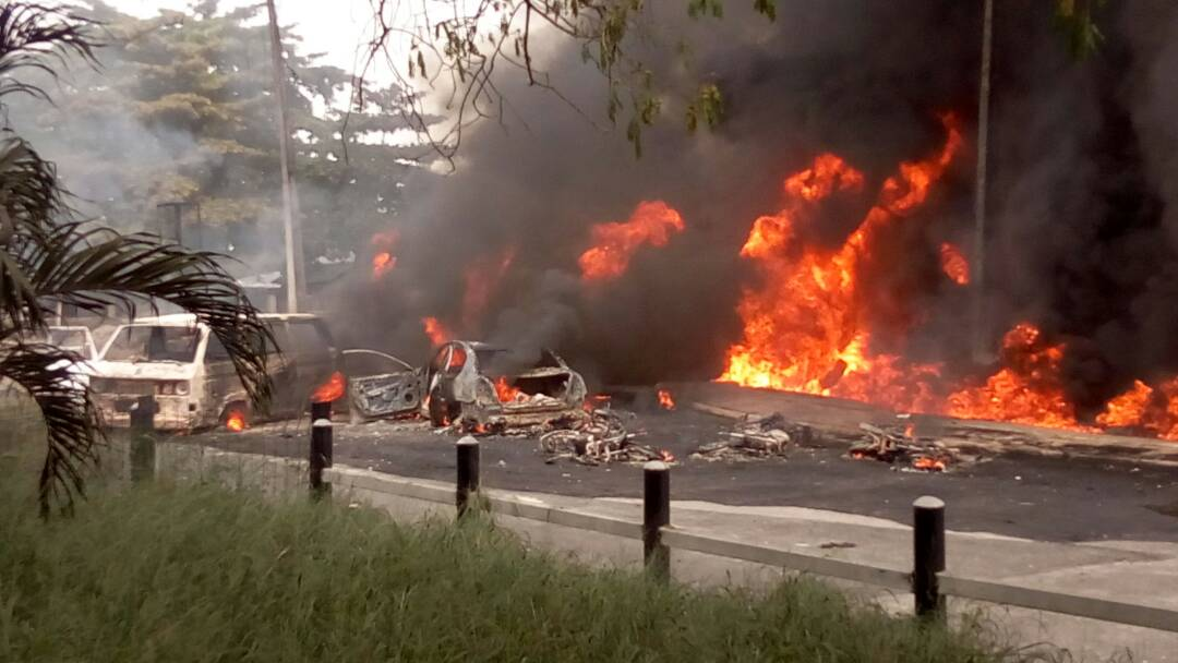 21 vehicles burnt as tanker explodes in Festac