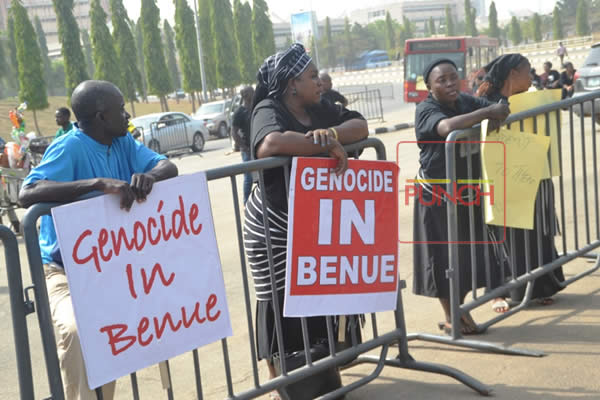 Benue indigenes protest against Fulani herdsmen killings
