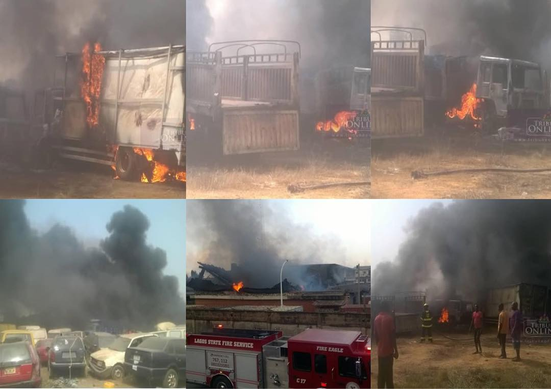 Fire destroys several vehicle, rice in customs warehouse