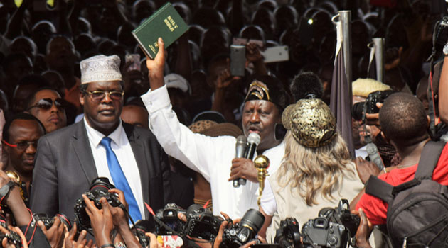 Kenya's opposition leader, Odinga declares self 'People's President'