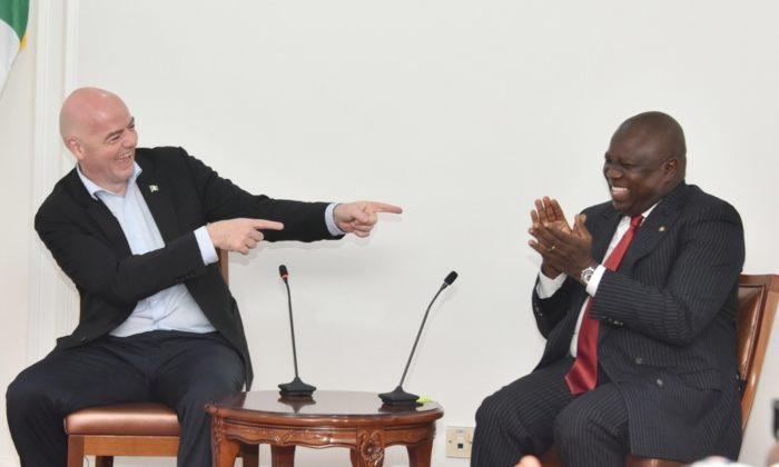 FIFA president, Infantino visits Ambode