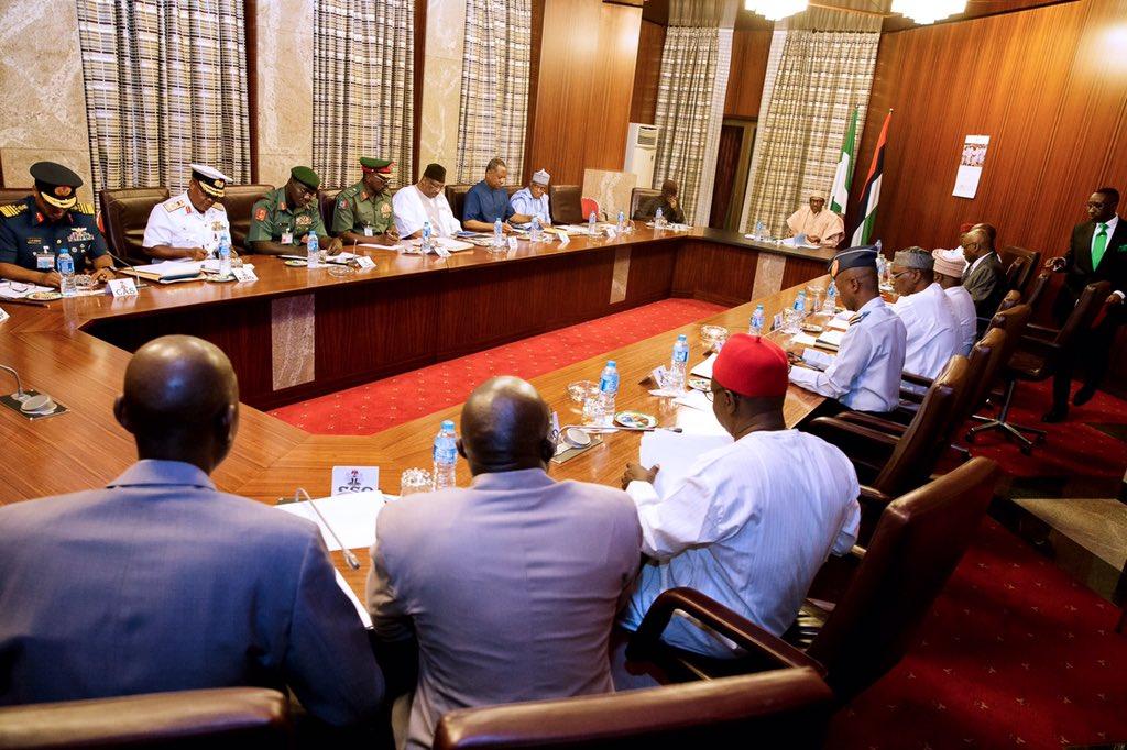 Security chiefs keep mum after meeting Buhari, Osinbajo
