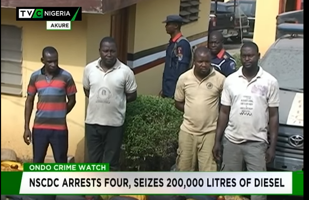 NSCDC arrests four, seizes 200,000 litres of diesel in Ondo