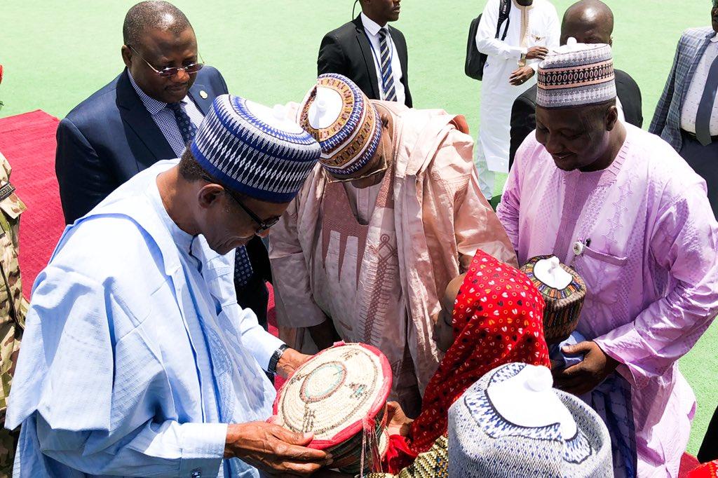 President Buhari in Yobe, to meet parents of #DapchiGirls