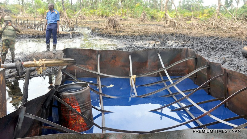 Nigerian Navy destroys illegal refineries in Rivers State