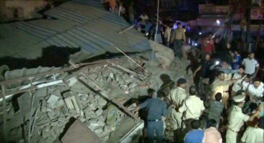 Ten killed after a four-storey building collapses in Indian city