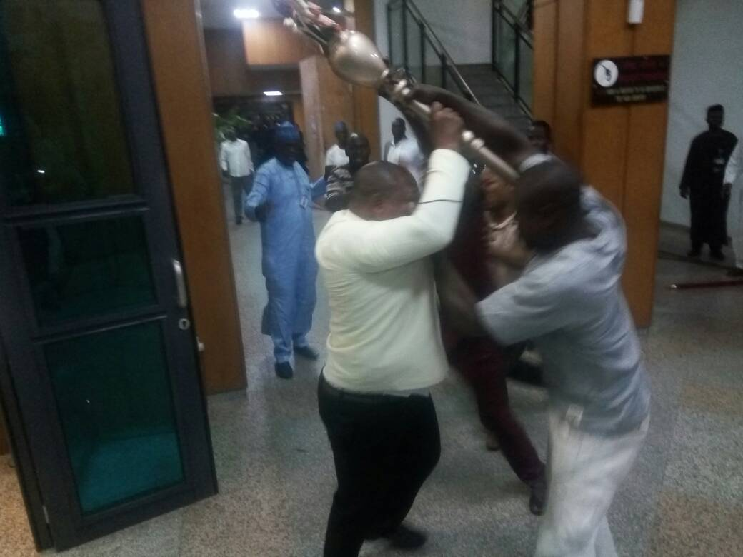 Breaking: Hoodlums invade NASS, seize Senate's mace