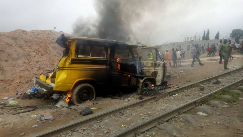 Two die in Lagos as train rams into parked bus