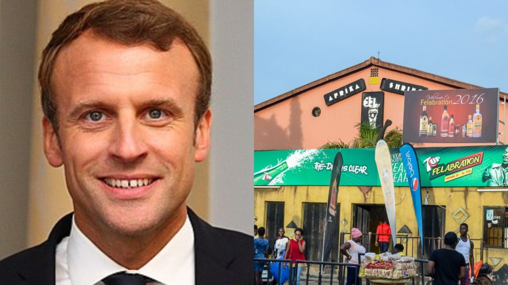 French President, Macron scheduled for Fela's Afrika Shrine Tuesday