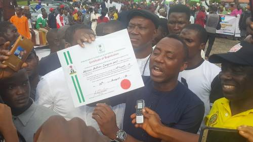 Sowore's party, 22 others receive certificates of registration