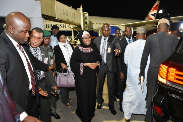 Aisha Buhari returns from South Korea