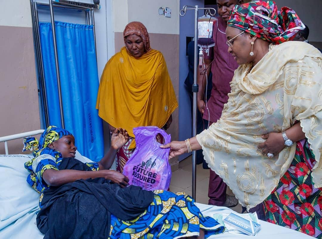Aisha Buhari commissions women center, visits patients