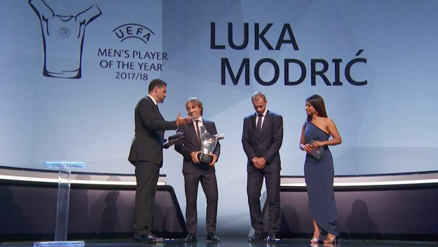 Luka Modric is Uefa Player of the Year, Pernille Harder awarded women's prize