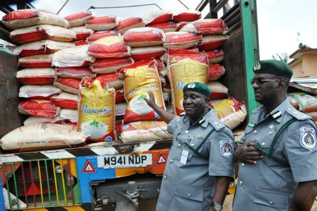 Customs strike force seizes 11 truckload of rice, contraband