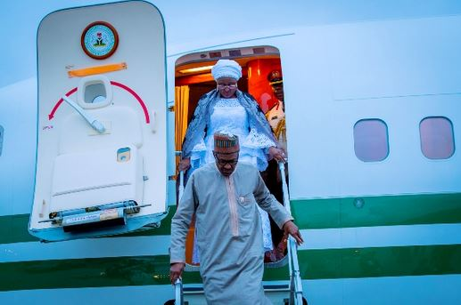 President Buhari, wife arrive New York for U.N. general assembly