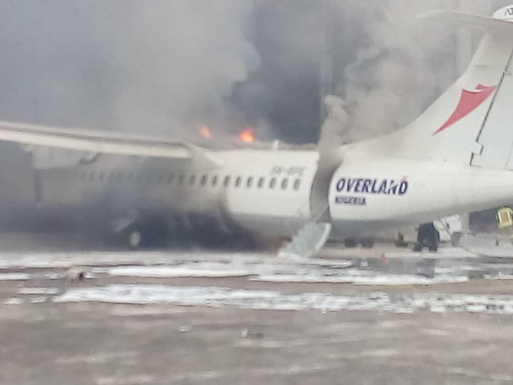 Plane catches fire at Lagos airport